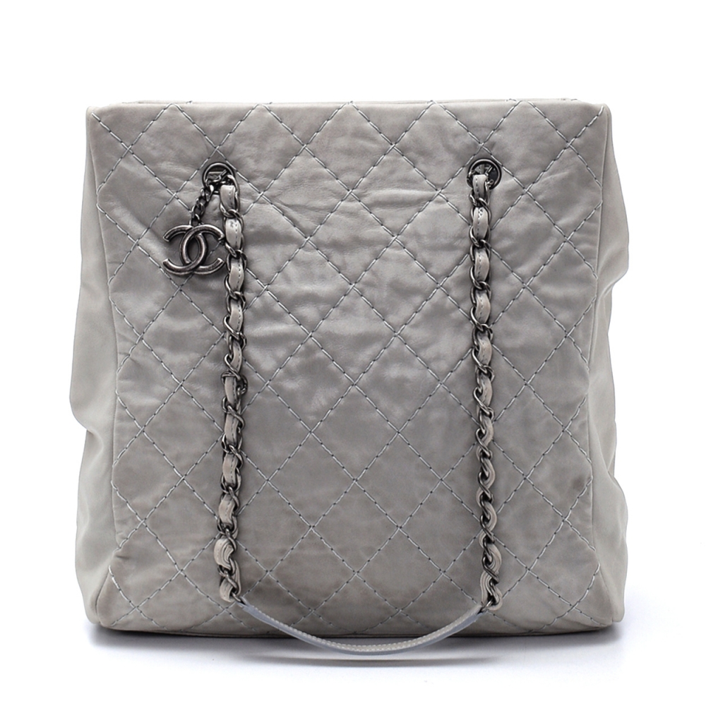 Chanel - Grey Calfskin Leather Quilted Grand Shopping Bag