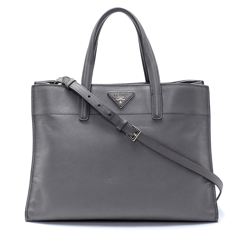 Prada - Grey Saffiano Leather Top Handle Bag 2