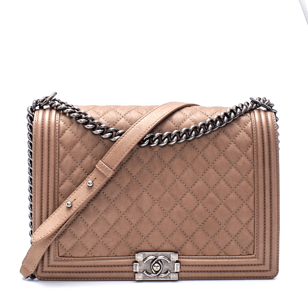 Chanel - Brown Caviar Leather Quilted Large Boy Bag
