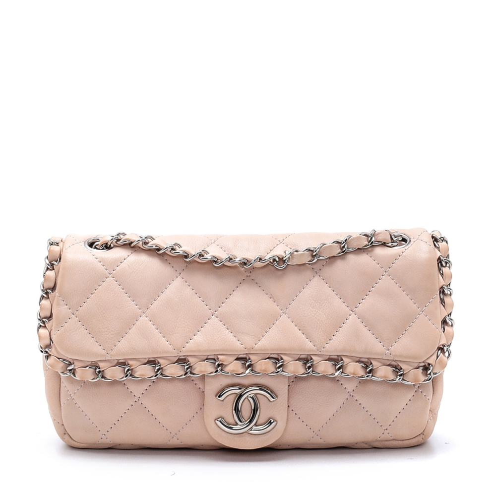 Chanel - Nude Lambskin Leather Quilted Chain Flap Bag