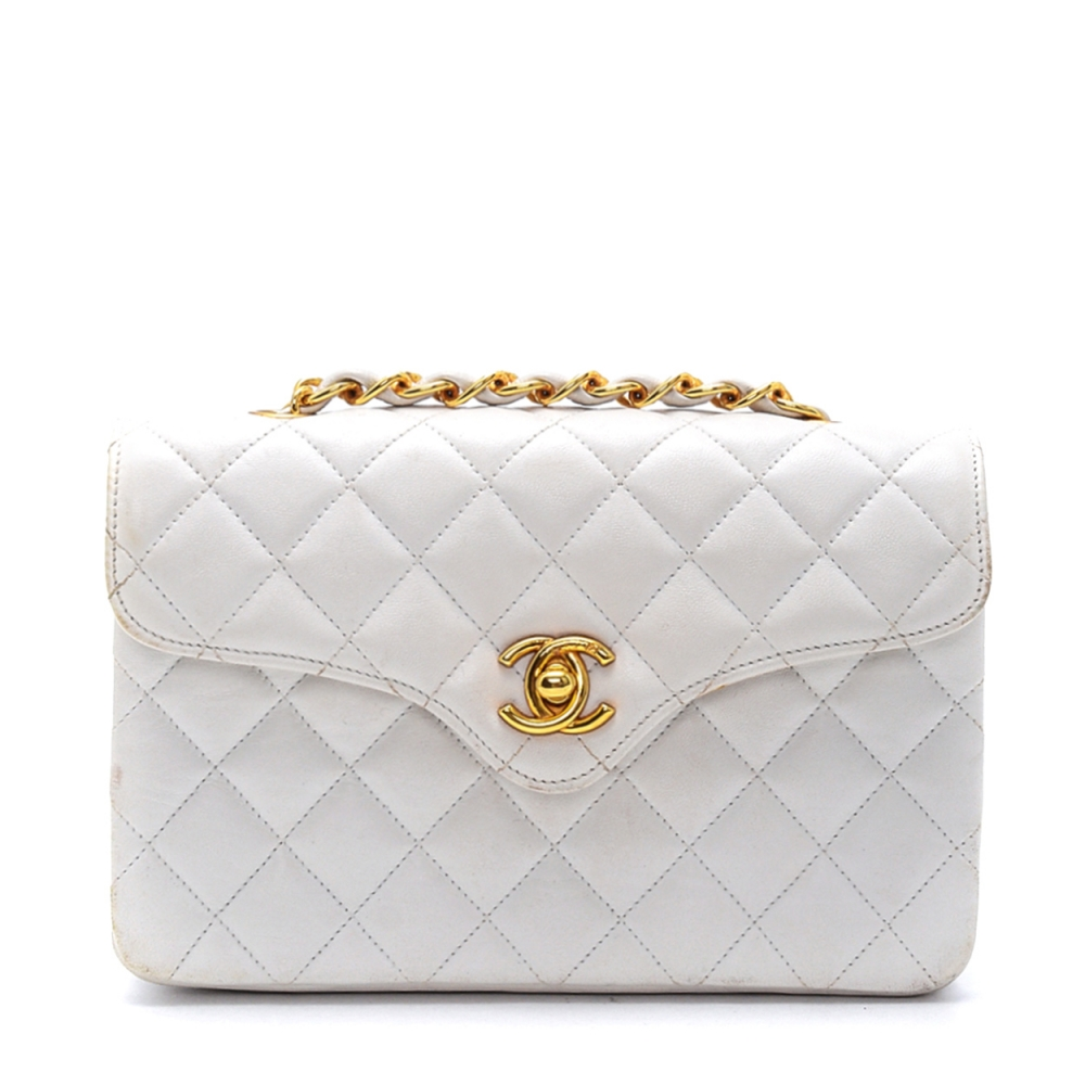 Chanel - White Quilted  Lambskin Leather Vintage Flap Crossbody Bag