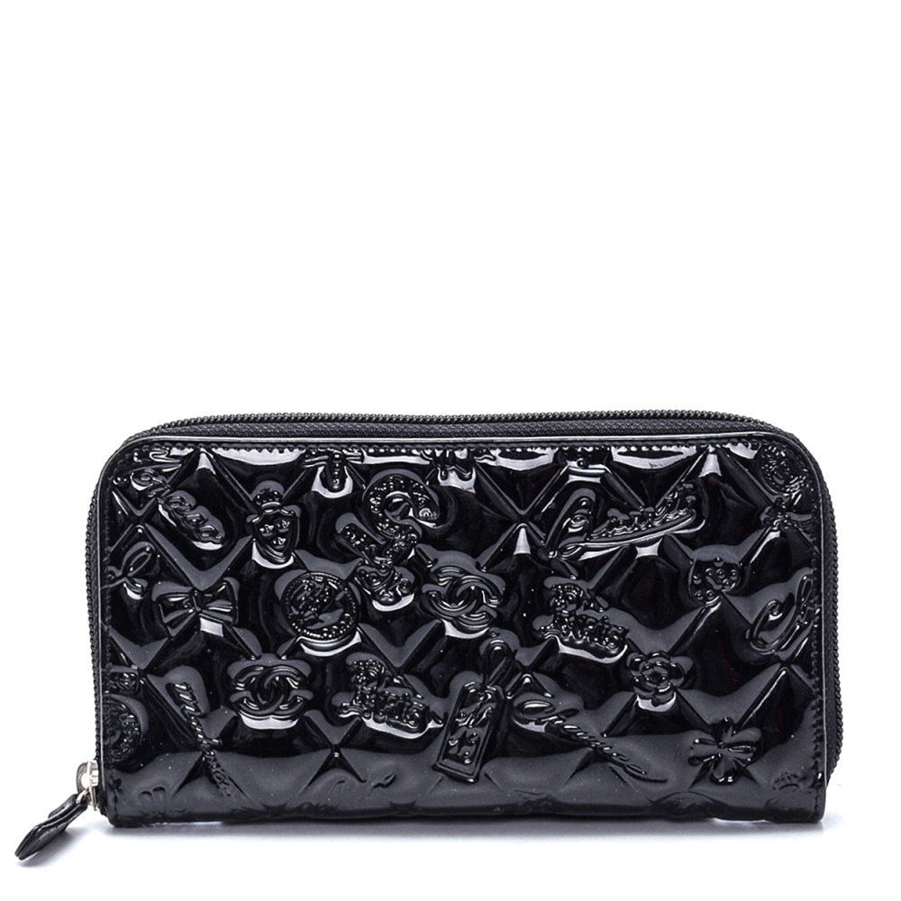 Chanel - Black Patent Leather Icon Symbols Quilted Wallet