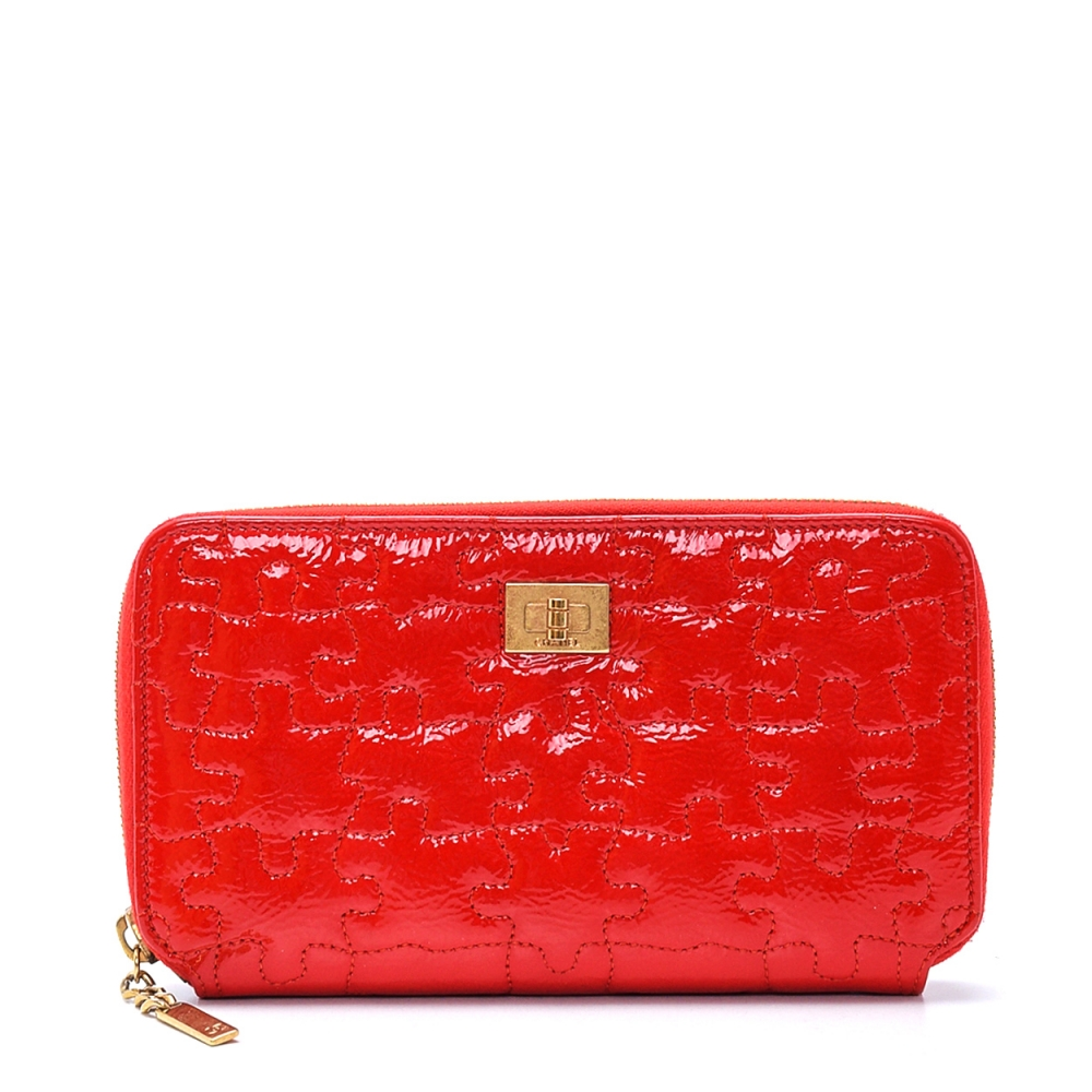 Chanel - Red Bifold Patent Leather Puzzle Wallet