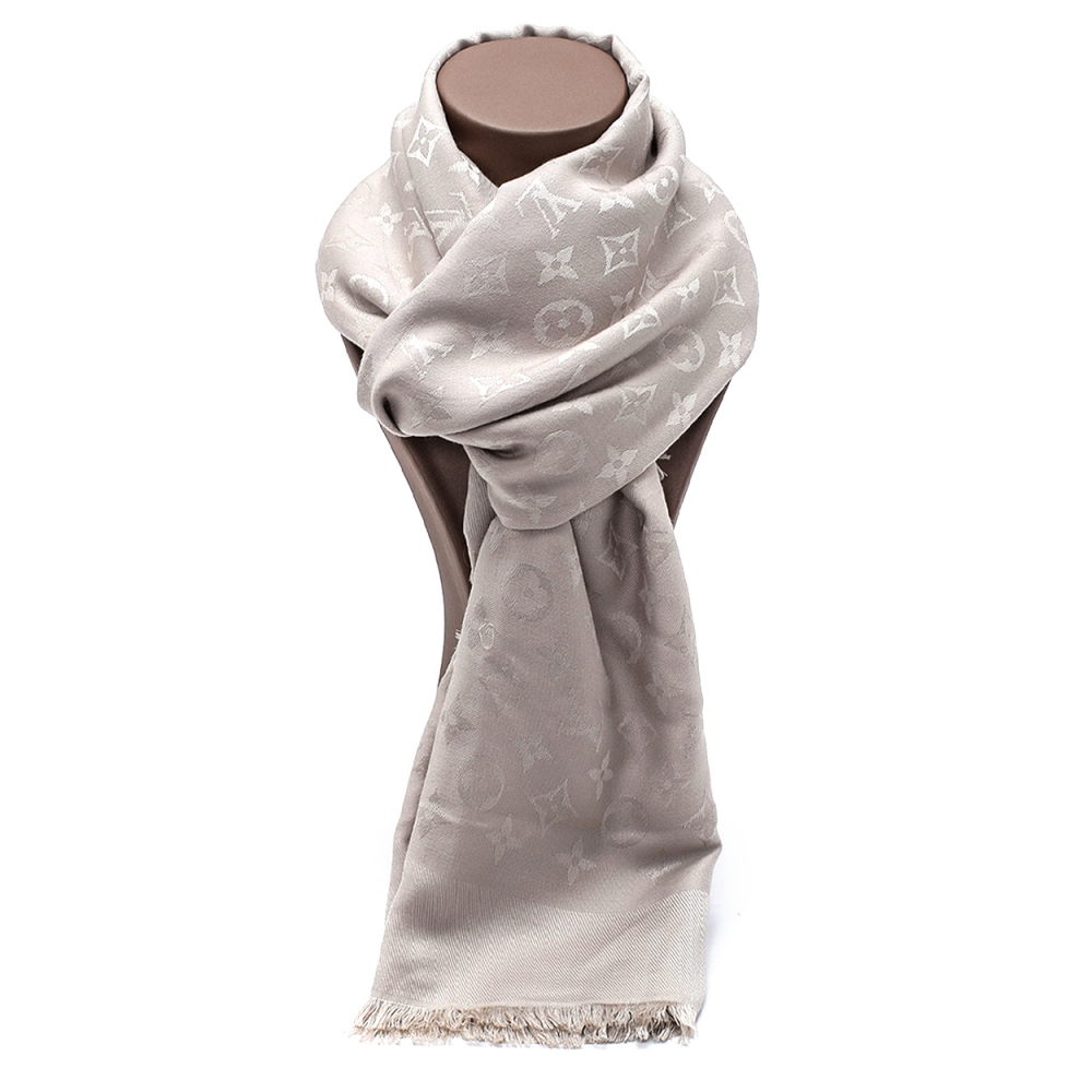 Louis Vuitton - Grey Silk Monogram Classic Shawl
