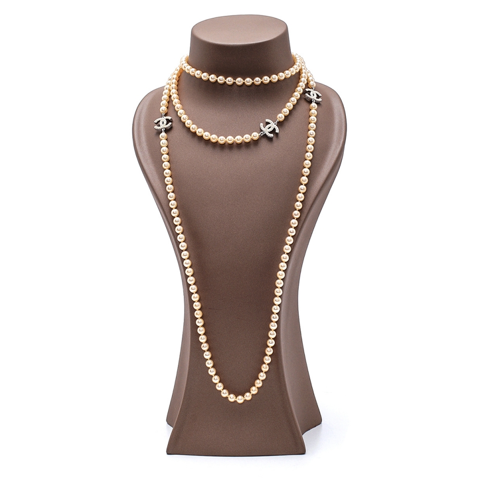 Chanel - Cream Pearl 3 CC Extra Long Necklace