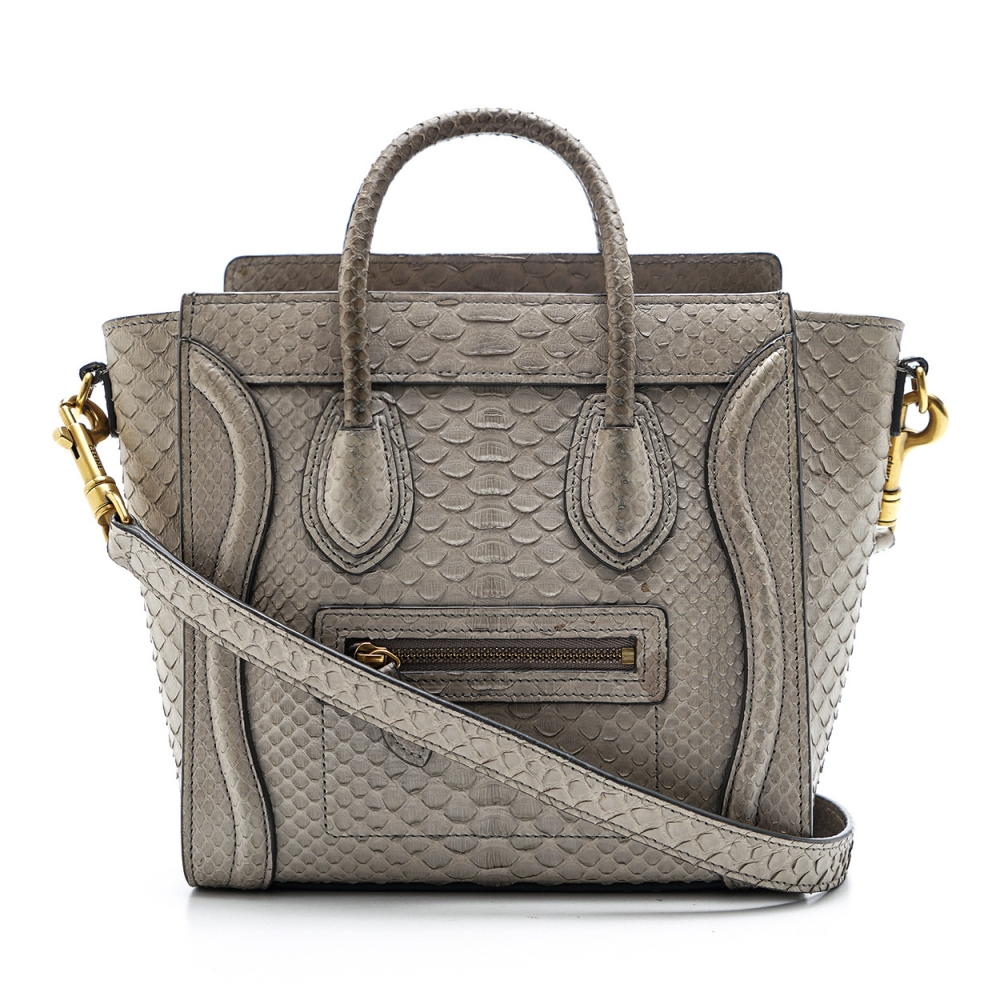 Celine - Grey  Python  Nano  Luggage Tote Bag