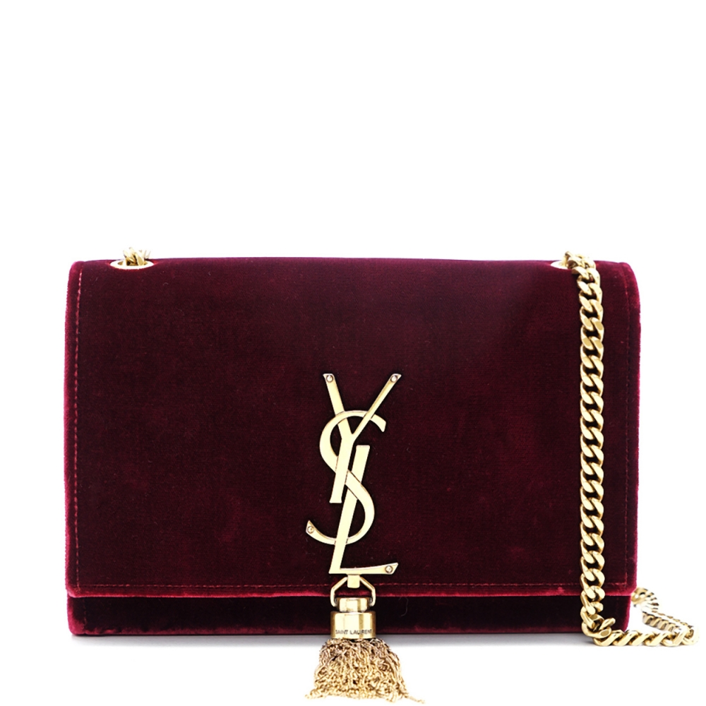 Yves Saint Laurent - Bordeaux Velvet  Leather  Kate Tassel Crossbody Bag