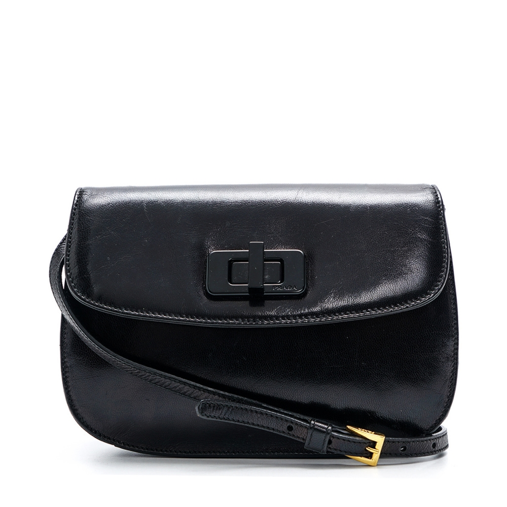 Prada - Black Leather  Crossbody Bag