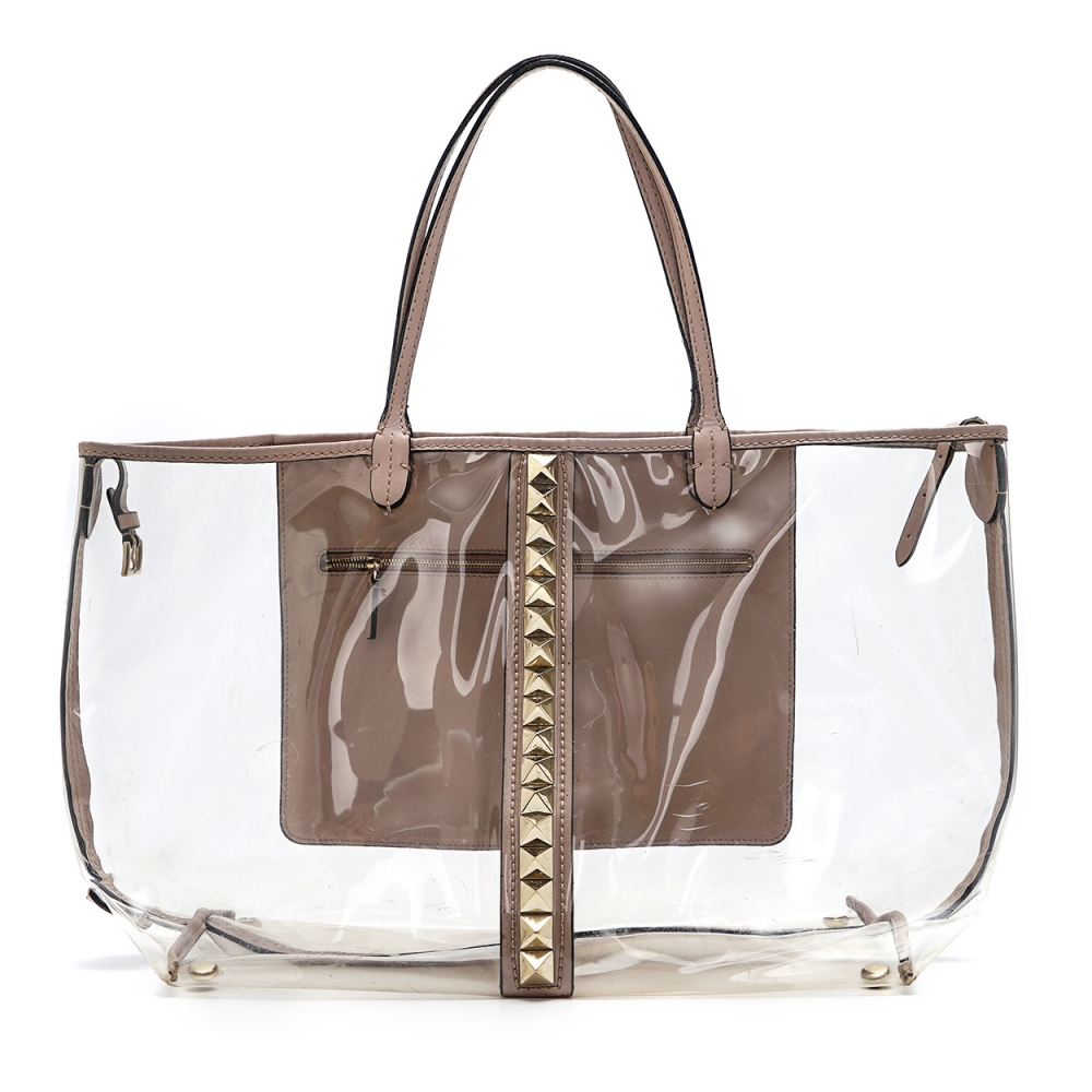 Valentino - Pvc and Blush Leather Rockstud Naked Shopping Bag