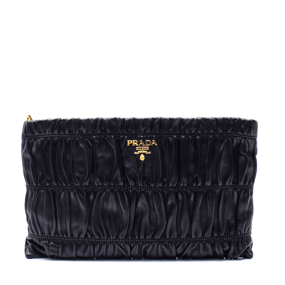 Prada - Black Gaufree Leather Clutch Bag
