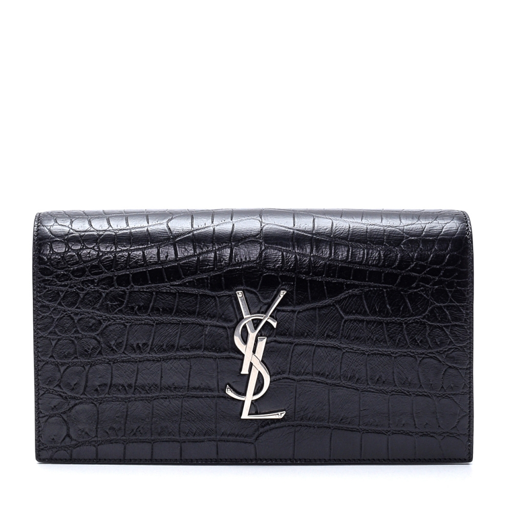 Yves Saint Laurent - Black Croc Print  Leather Clutch Bag