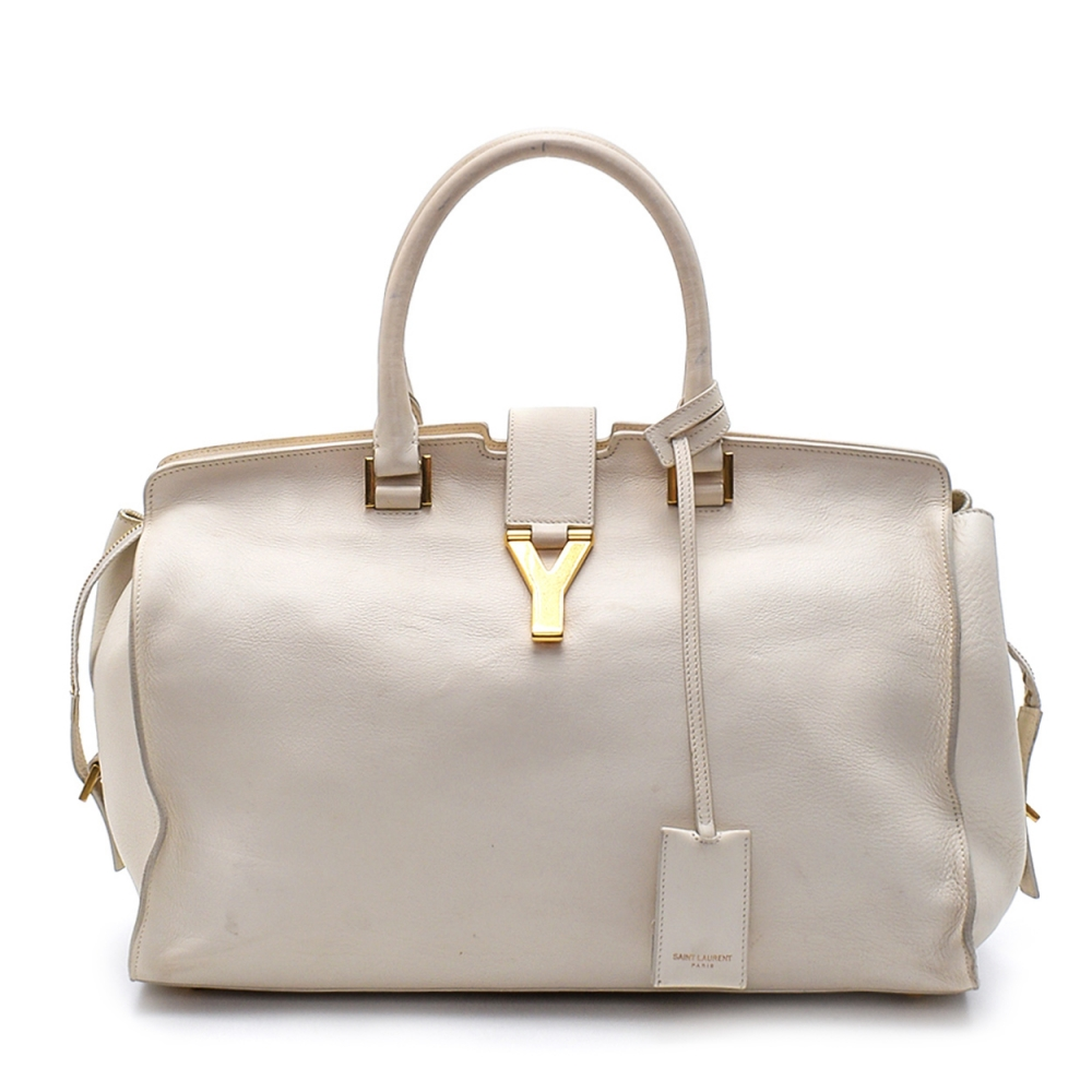 Yves Saint Laurent - White  Calfskin Leather Cabas Chyc Tote Tote Bag