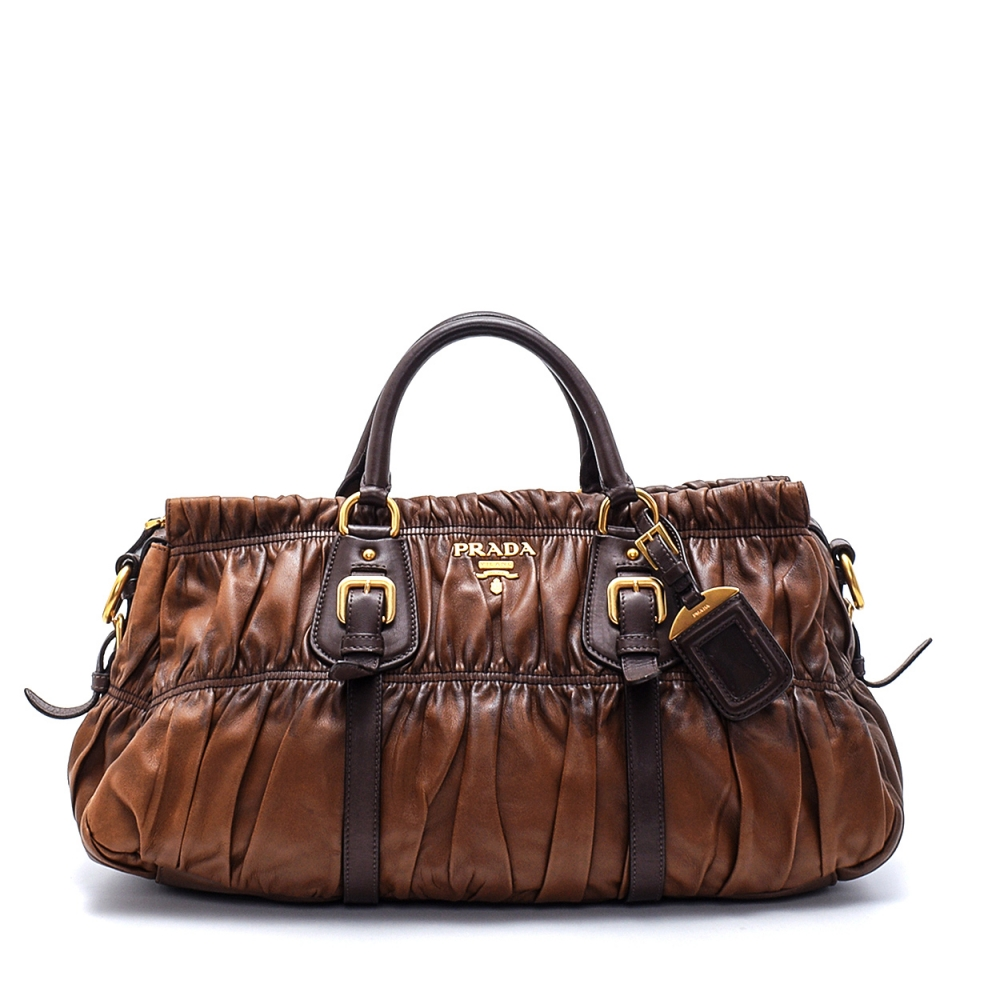 Prada - Brown  Gaufree Leather Tophandle Bag