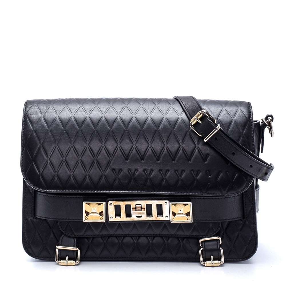 Proenza Schouler - Black Texture Leather Ps11 Crossbody Bag