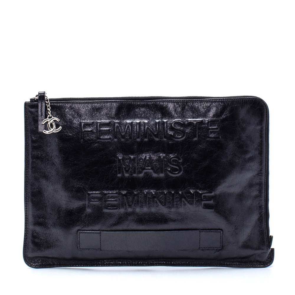 Chanel -  Black Feministe Leather Clutch