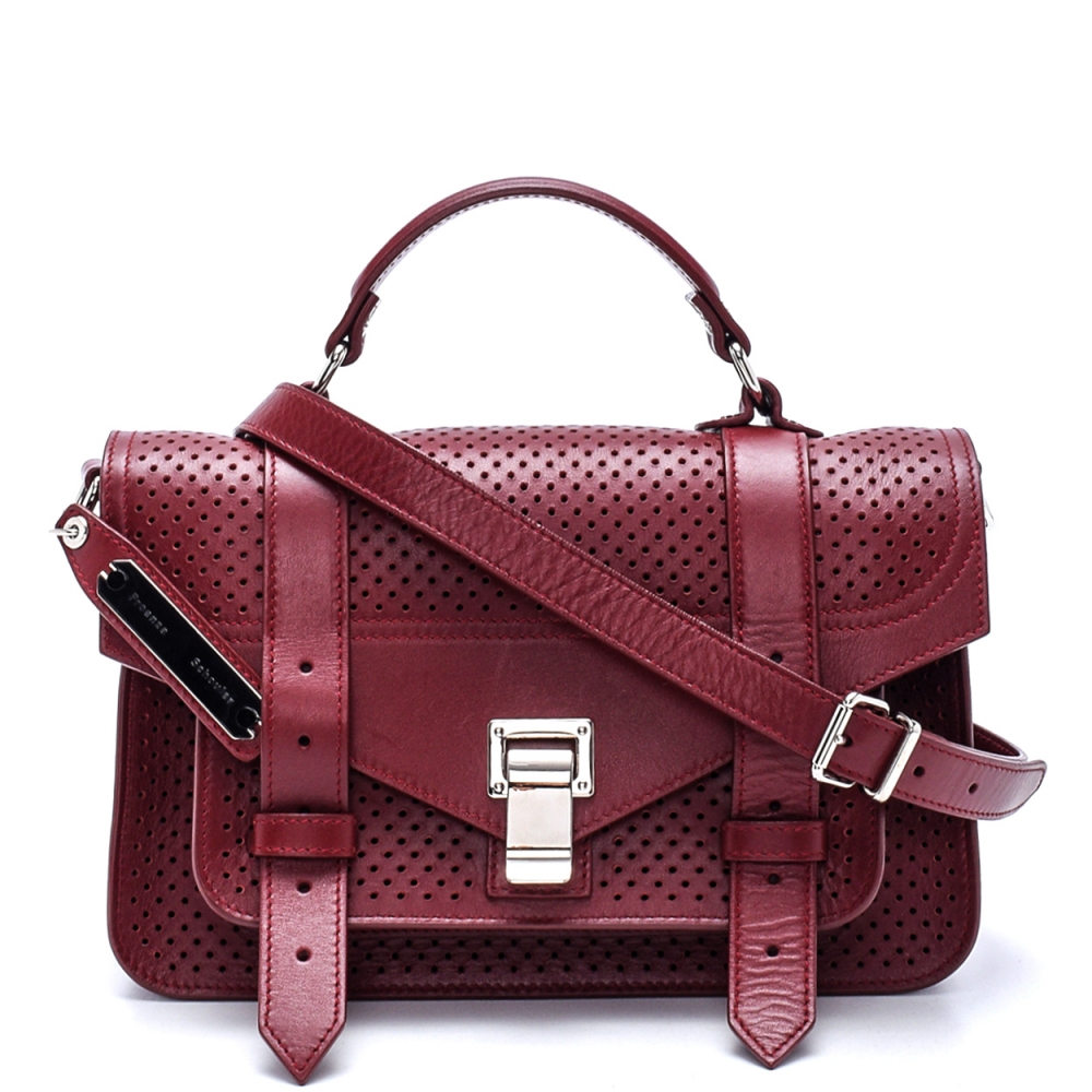 Proenza Schouler - Bordeaux Perforated Leather Ps1 Small Satchel Bag