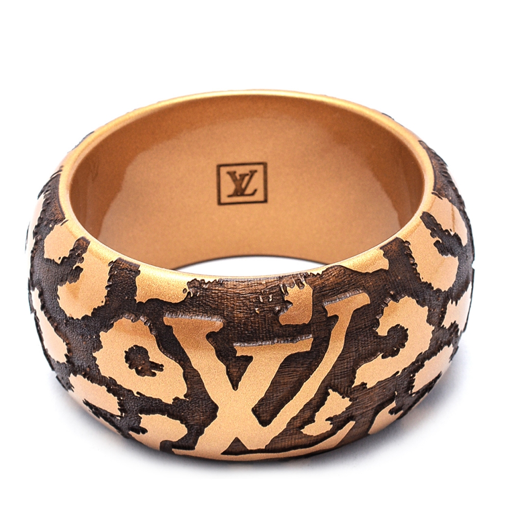 Louis Vuitton - Gold Extra Wide Animal Print Leopard Cuff Bangle