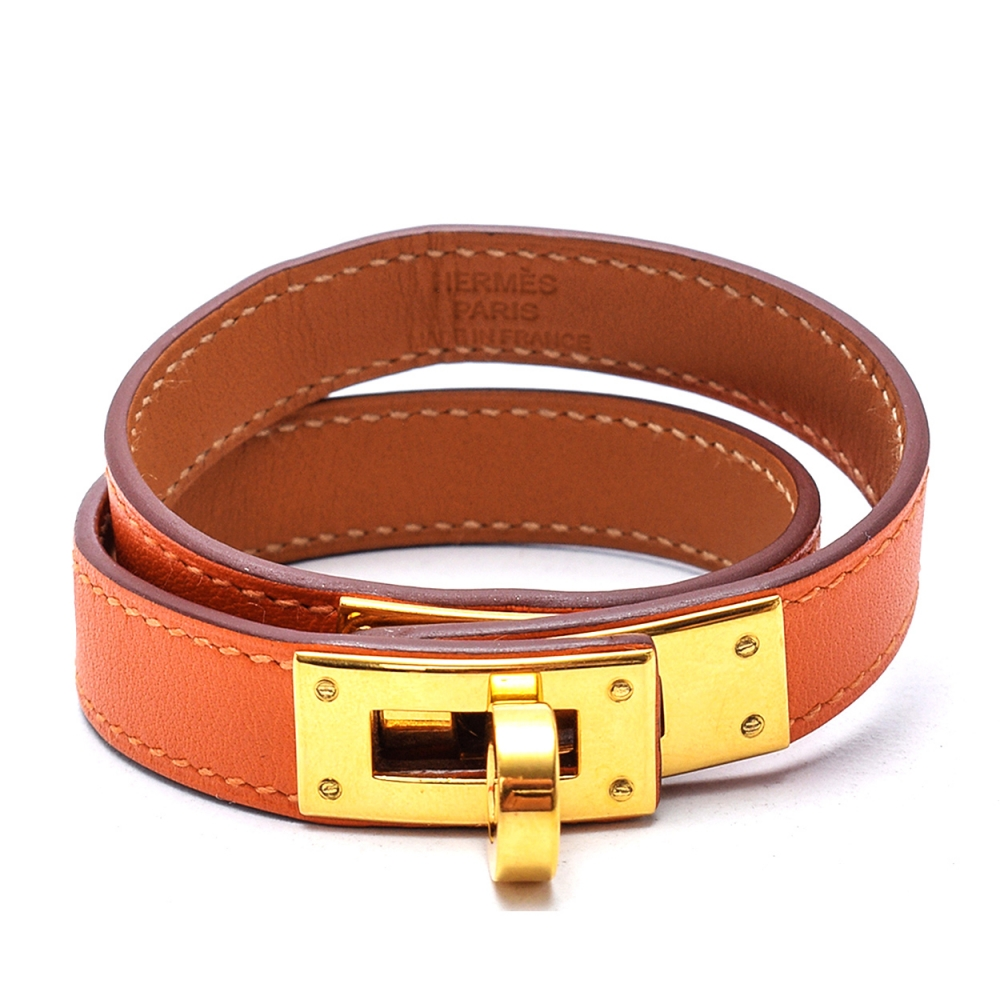 Hermes Orange Kelly Double Tour Leather Gold Plated Wrap Bracelet