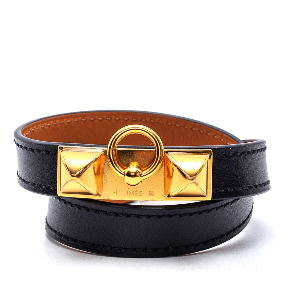Hermes - Black Leather Collier de Chien Bracelet
