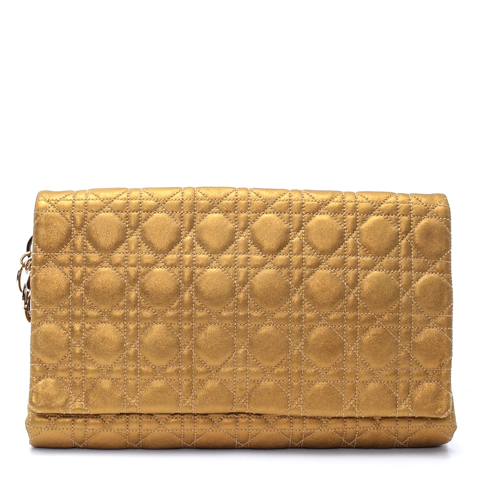 Christian Dior- Metallıc Gold Cannage Leather Clutch