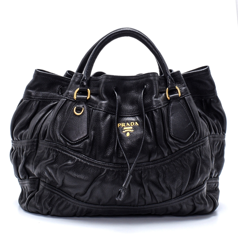 Prada - Black Gaufree  Leather Hobo Bag