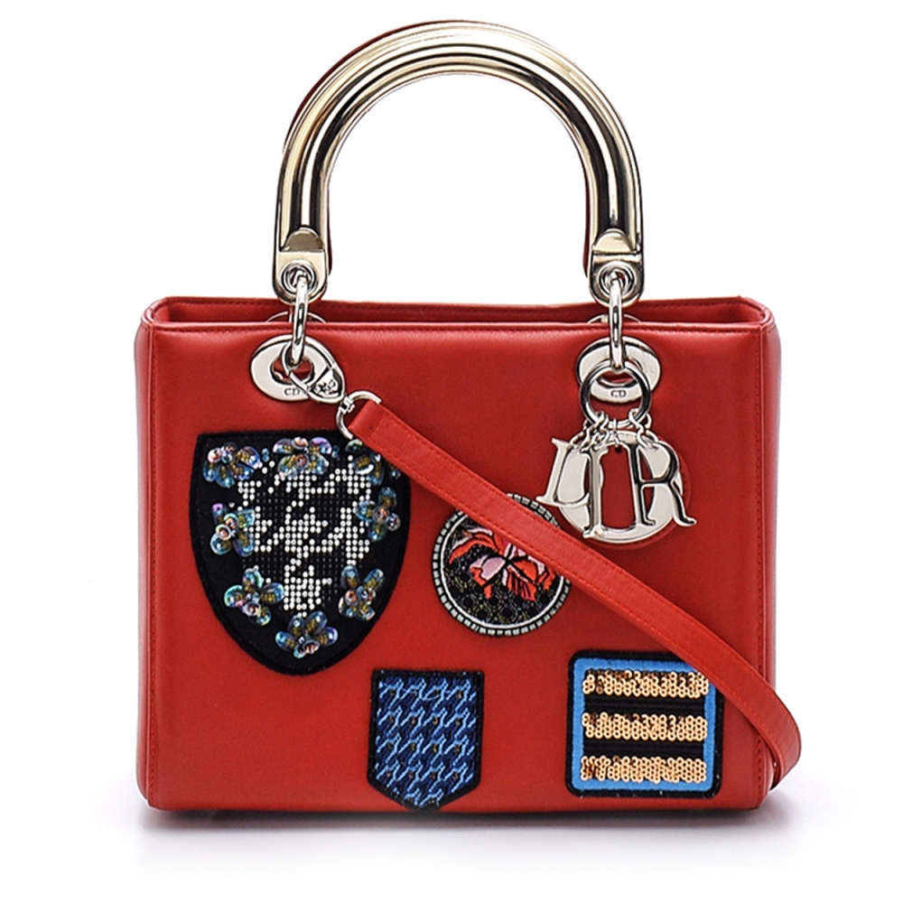 Christian Dior-  Red  Dioramic With Stamps Limited Edition  Small Lady Dior Bag