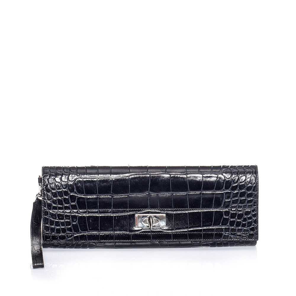 Givenchy - Black Croc Print Leather Clutch Bag