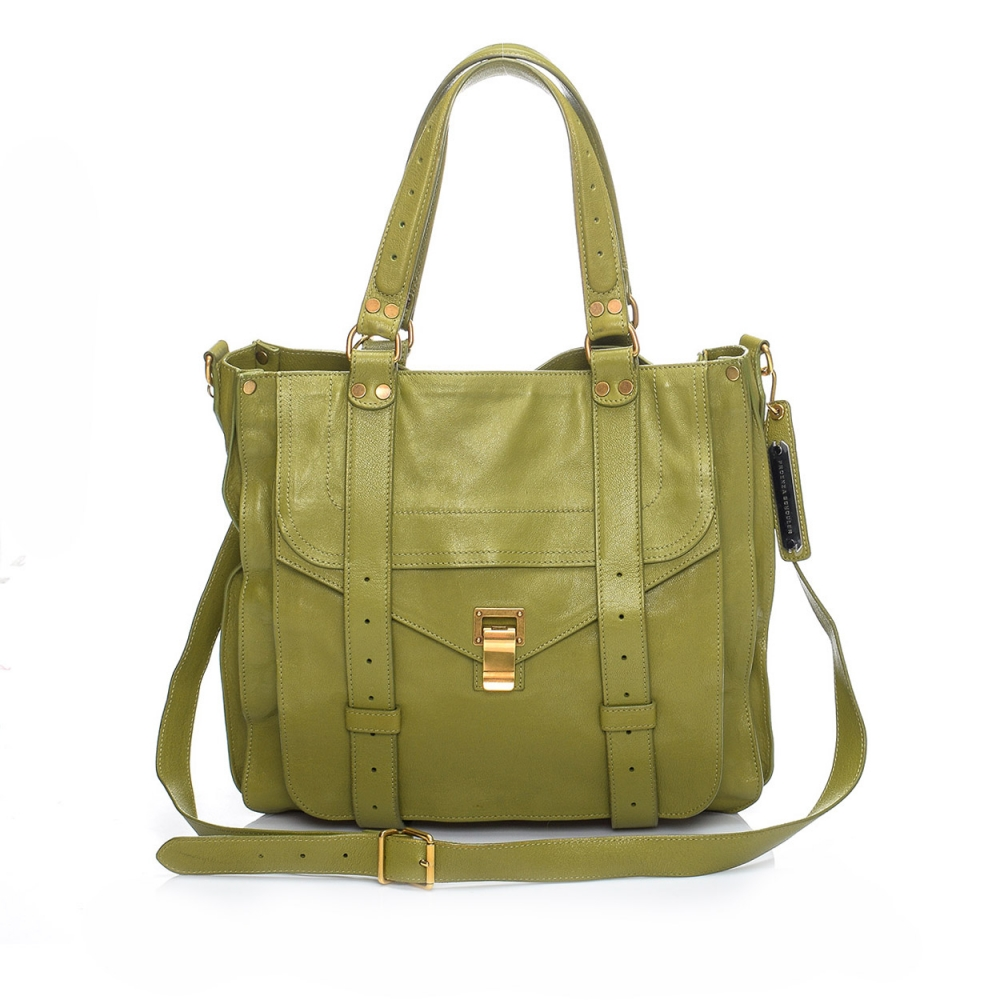 PROENZA SCHOULER - GREEN LEATHER PS1 SATCHEL BAG