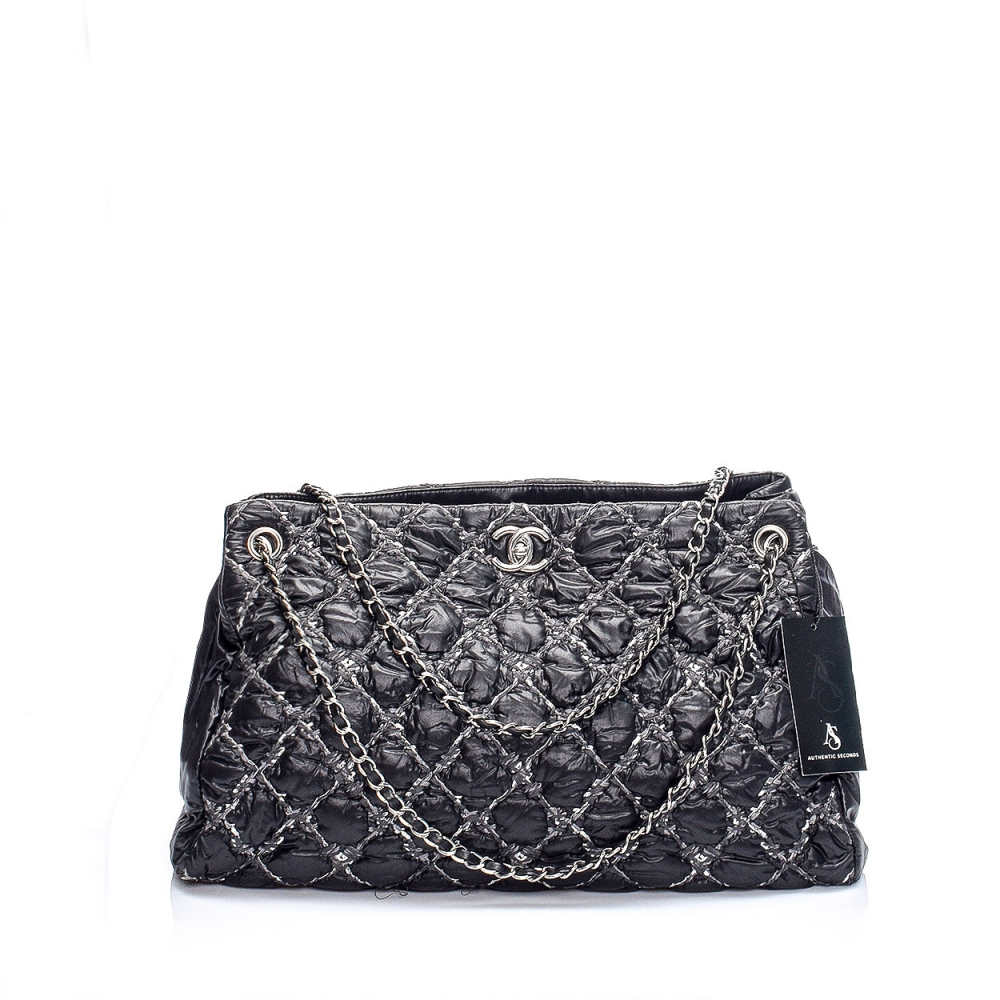CHANEL - BLACK QUILTED TWEED AND NYLON LARGE TOTE BAG