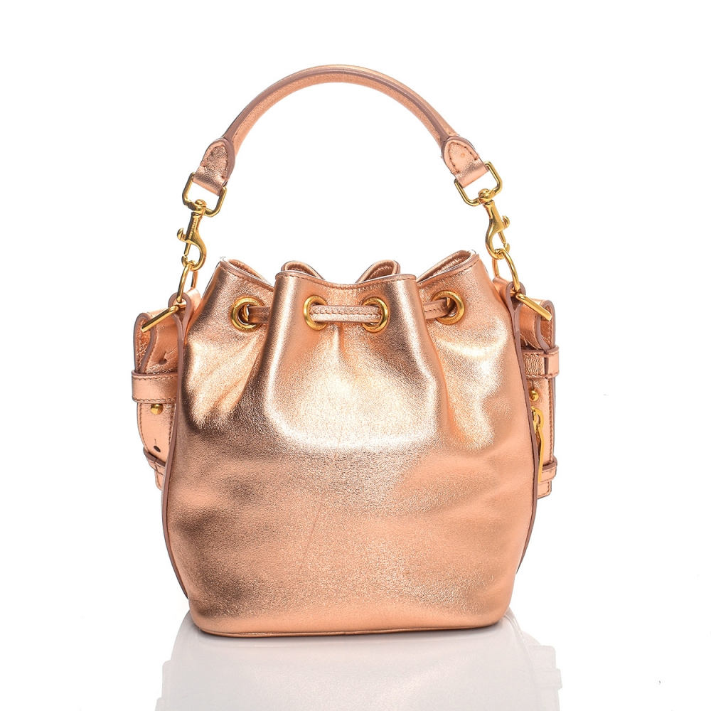 YVES SAINT LAURENT - ROSE LEATHER MINI BUCKET BAG