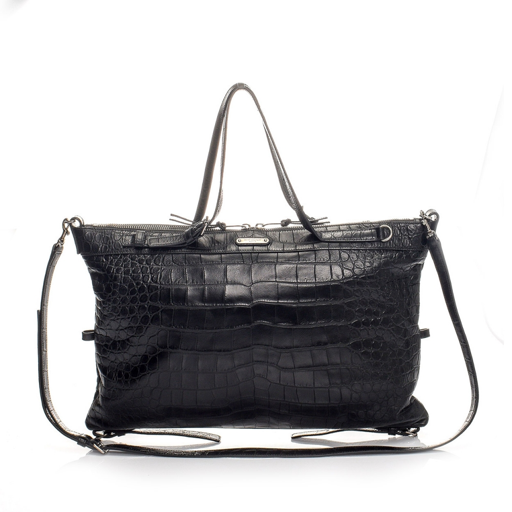 YVES SAINT LAURENT - BLACK CROCODILE EMBOSSED LEATHER BAG