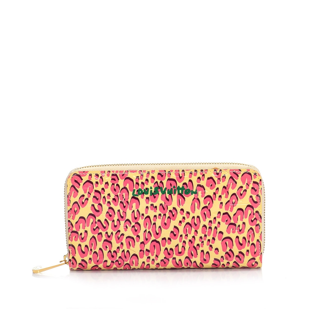 Louis Vuitton - Limited Edition Blanc Corail Monogram Vernis Leopard Zippy Wallet