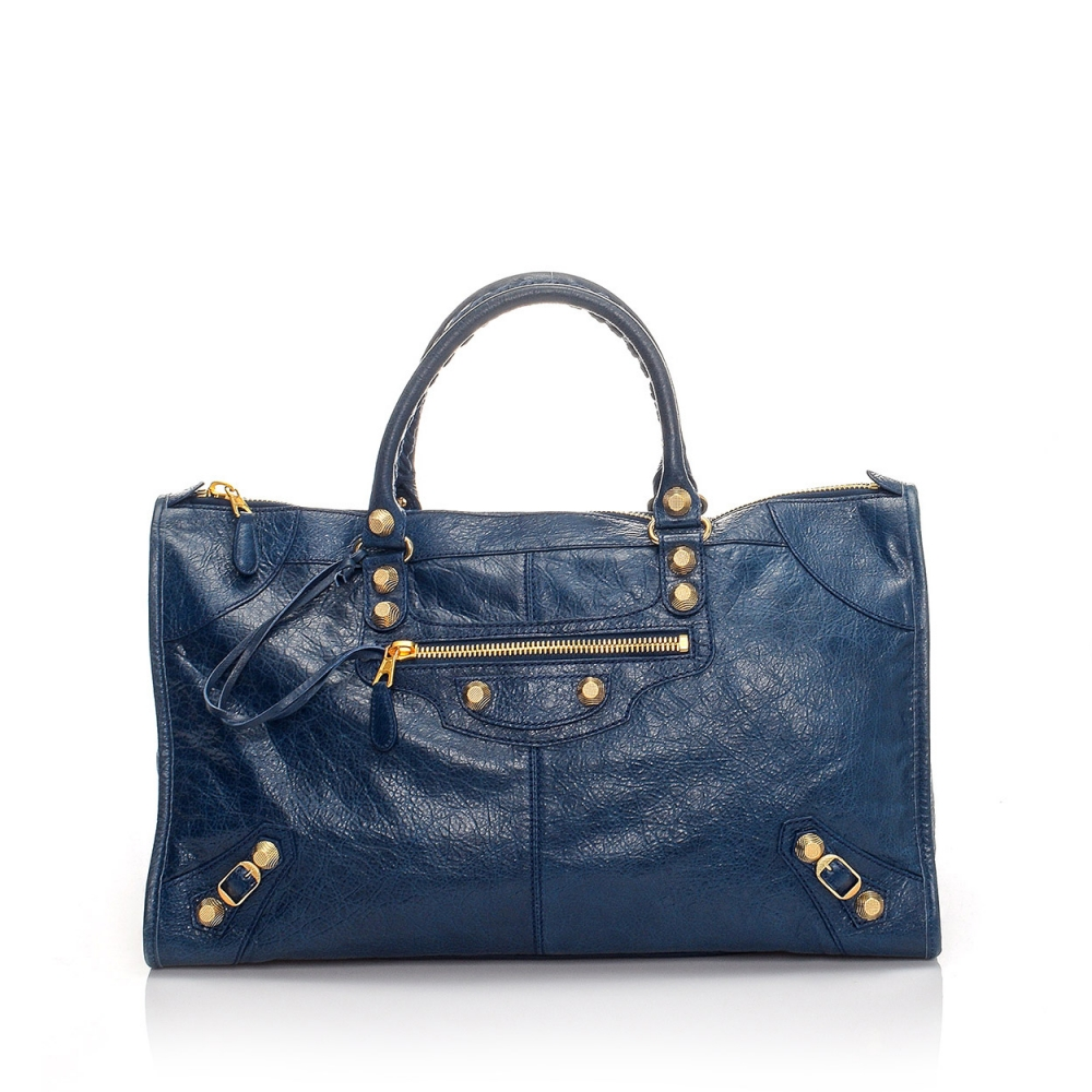 BALENCIAGA - BLUE LAMBSKIN LEATHER GIANT WORK BAG