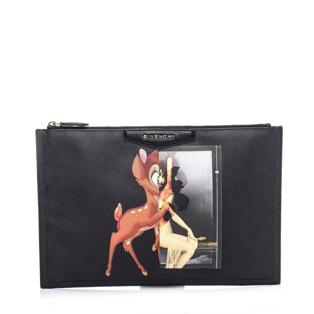 GIVENCHY - BLACK BAMBI BLOCK ANTIGONA TEXTURED LEATHER CLUTCH