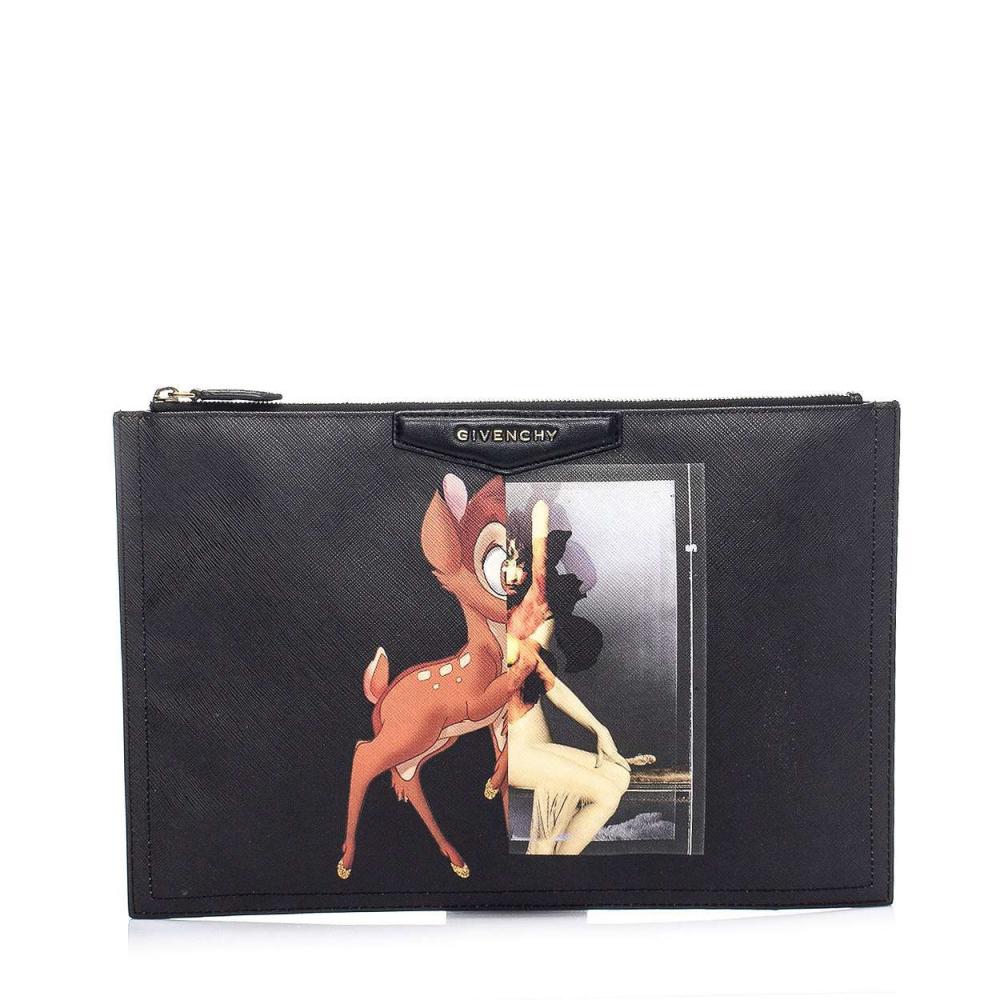 Givenchy - Black Bambi Block Antigona Textured Leather Clutch