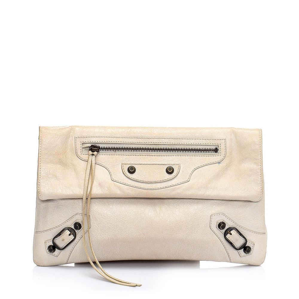 BALENCIAGA - IVORY CALFSKIN LEATHER MOTORCYCLE ENVELOPE CLUTCH