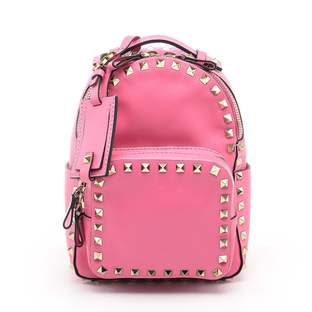 VALENTINO - PINK NAPPA LEATHER ROCKSTUD SMALL BACKPACK BAG
