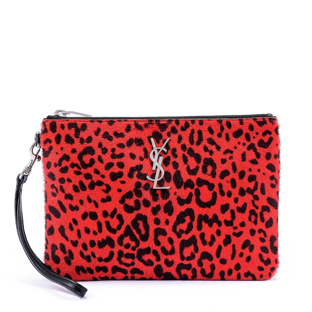 YVES SAINT LAURENT - PONYHAIR LEATHER LEOPARD CLUTCH