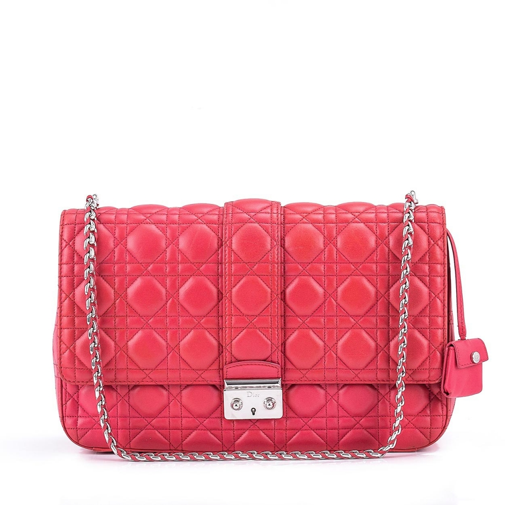 CHRISTIAN DIOR - FUSCHIA CANNAGE LEATHER LARGE FLAP BAG