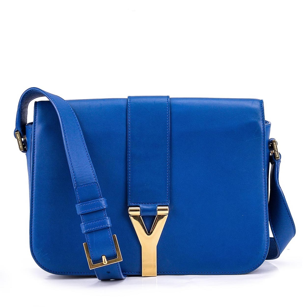 YVES SAINT LAURENT - BLUE LEATHER SMALL CHYC FLAP BOX BAG