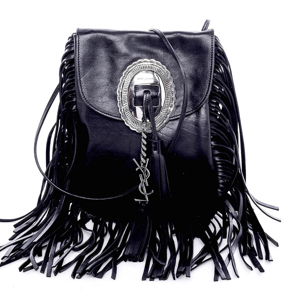 YVES SAINT LAURENT  - BLACK LEATHER FRINGE BAG