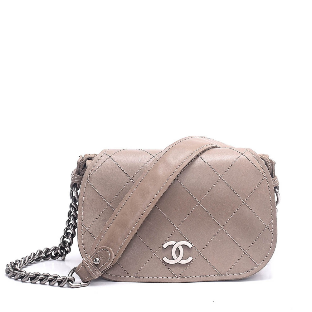 CHANEL - GREY QUILTED LAMP LEATHER MINI FLAP BAG