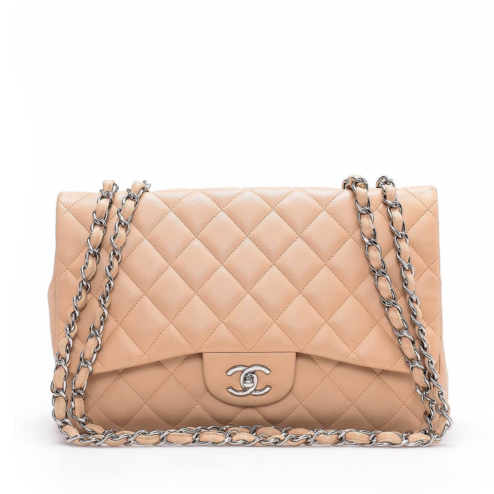 CHANEL - BEIGE  QUILTED LAMBSKIN LEATHER JUMBO DOUBLE FLAP BAG