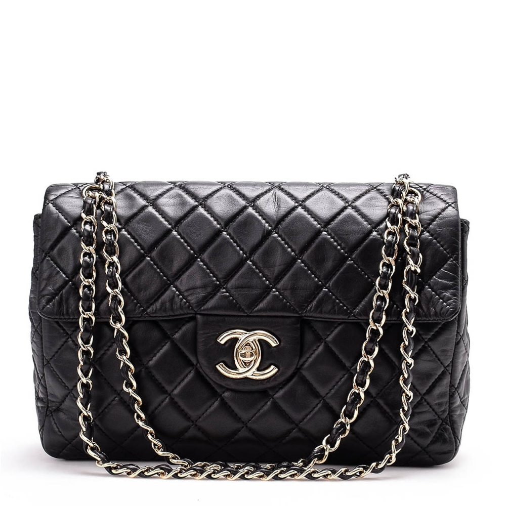 CHANEL - BLACK QUILTED LAMBSKIN LEATHER JUMBO CLASSIC SINGLE FLAP BAG