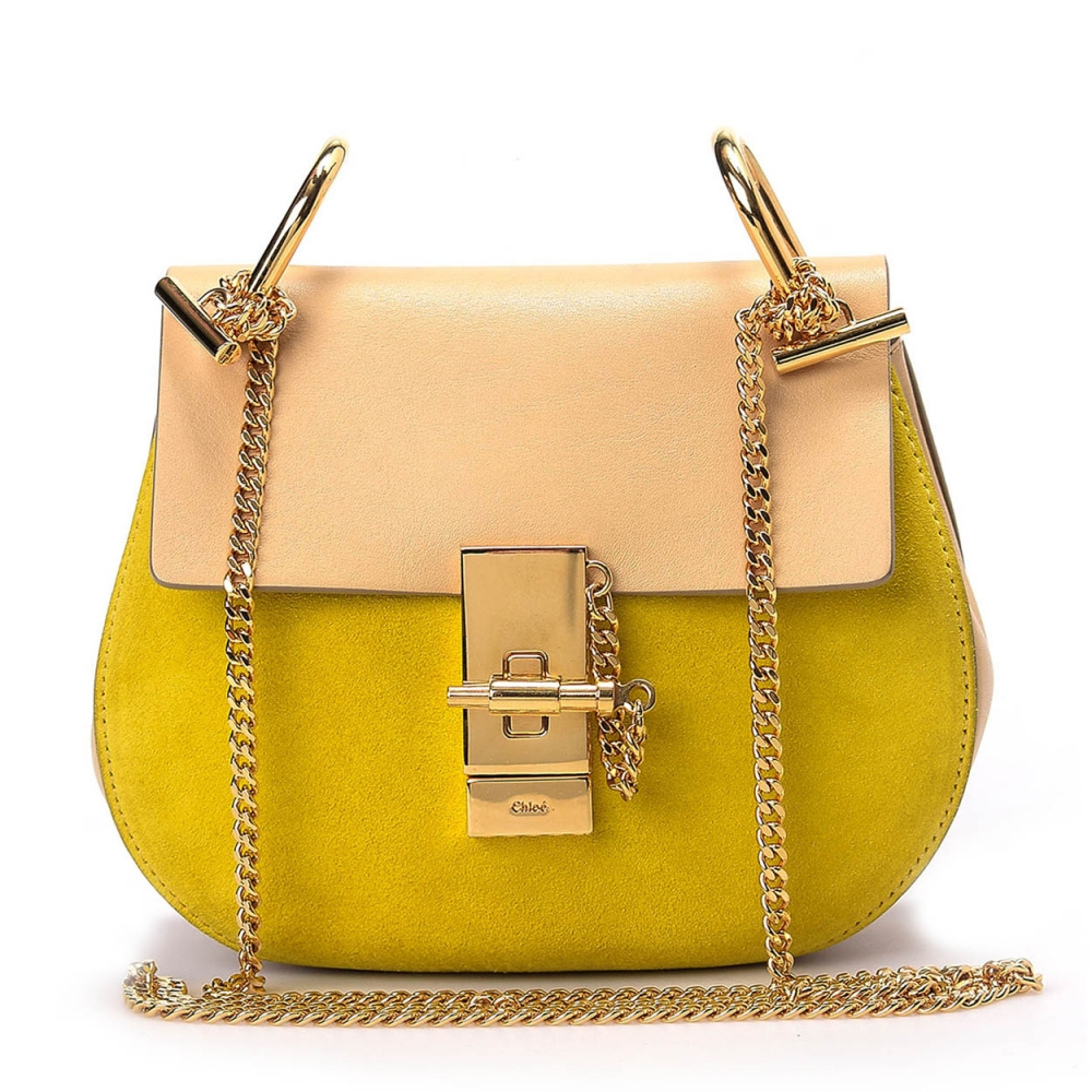 CHLOE- YELLOW 2TONE SMALL LEATHER  DREW BAG