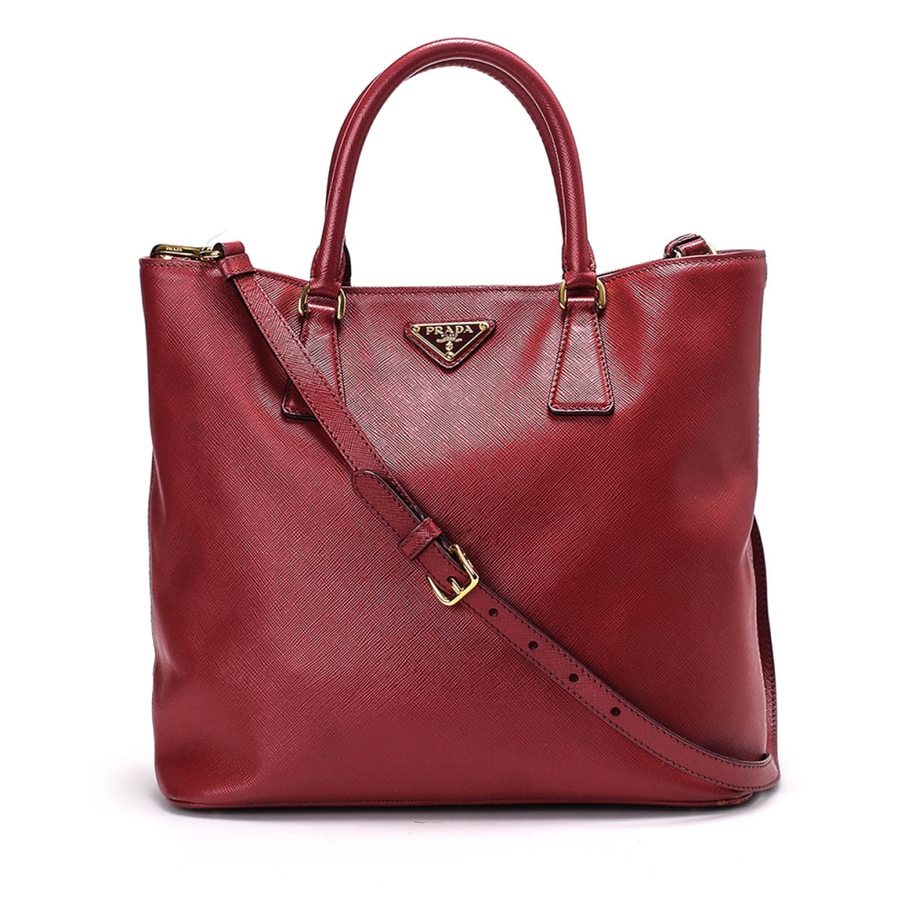 Prada -  Red Saffiano Leather Medium Tote Bag