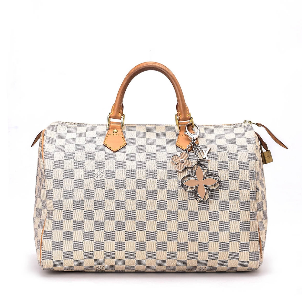 LOUIS VUITTON - DAMIER AZUR CANVAS LEATHER SPEEDY 35 BAG