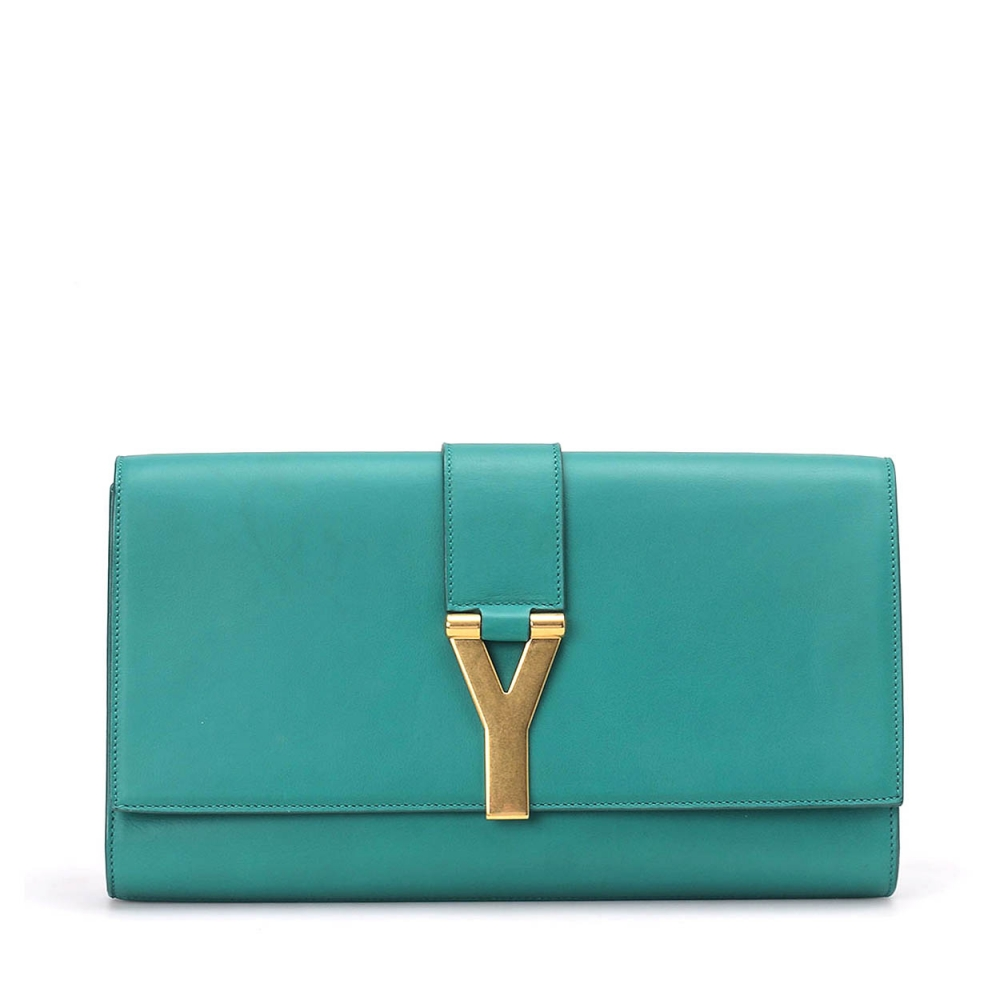 YVES SAINT LAURENT - GREEN LEATHER SAC DU JOUR CLUTCH BAG