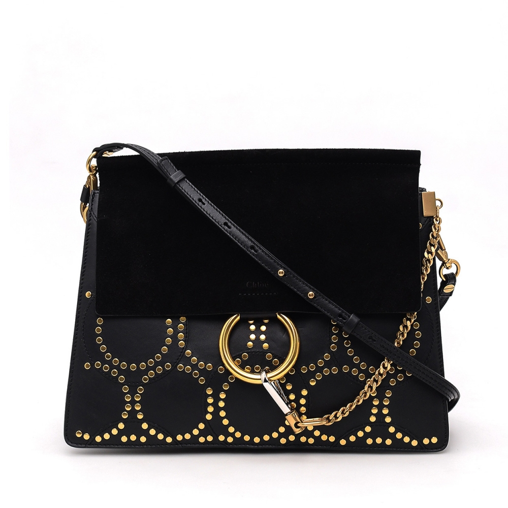 CHLOE - LIMITED EDT DREW BLACK LEATHER AND SUEDE MEDIUM FAYE MESSENGER BAG