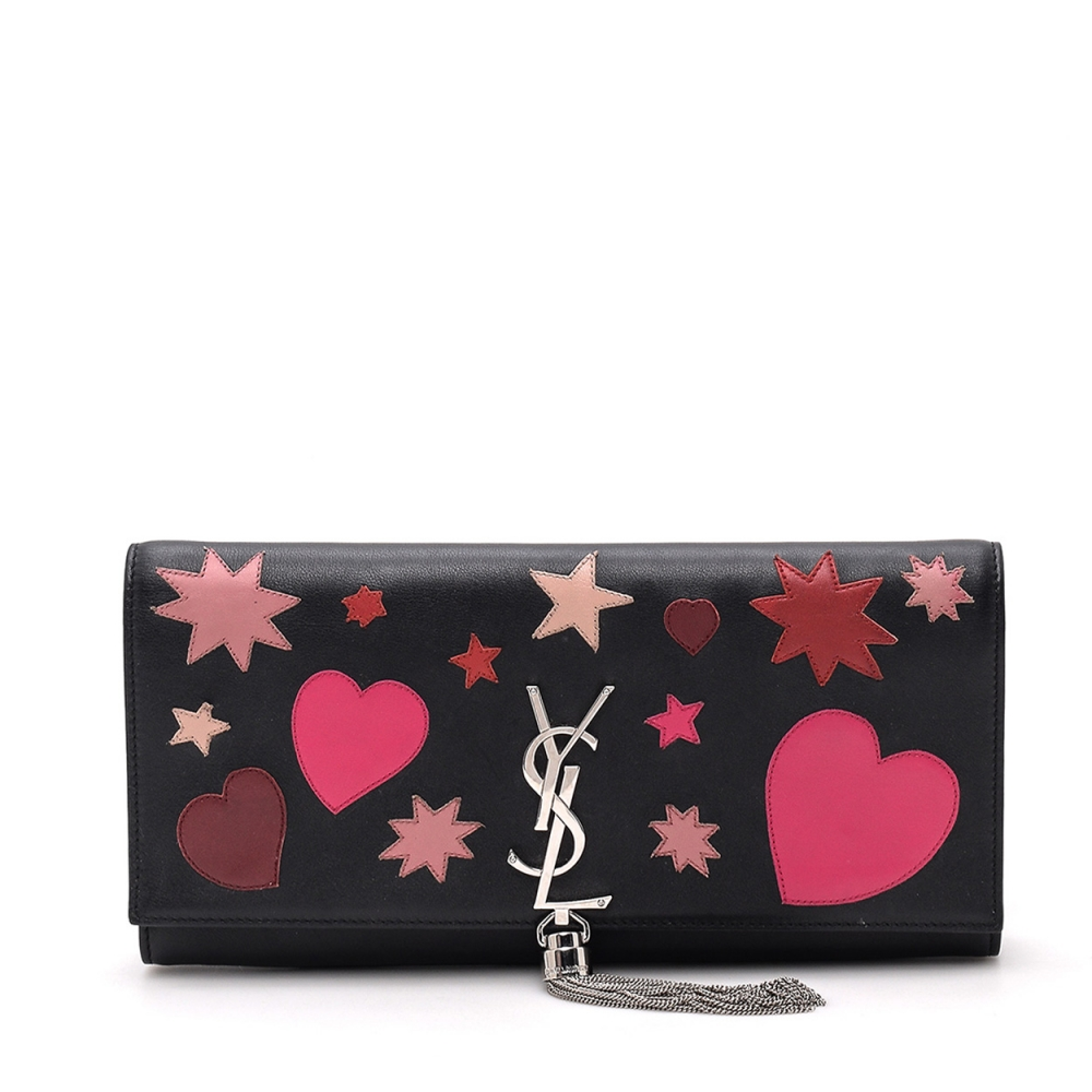YVES SAINT LAURENT - BLACK LEATHER PATCH SAC DU JOUR CLUTCH BAG